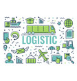 set of icons infographics on logistics vector image vector image