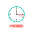 spring forward clock showing daylight saving time vector image vector image