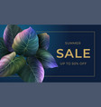 summer banner with bright palm leaves vector image vector image