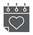 valentines day calendar glyph icon february and vector image