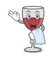 waiter wine mascot cartoon style vector image