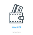 wallet with credit card line flat icon vector image vector image