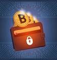 wallet with golden bitcoin digital currency modern vector image
