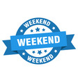 Weekend ribbon weekend round blue sign weekend