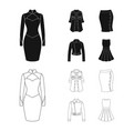 women clothing blackoutline icons in set vector image vector image
