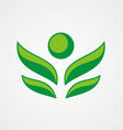 abstract people green tree logo vector image