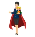 super hero mom holding her daughter vector image