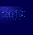 2019 date number new year holiday with snowflakes vector image
