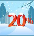 a discount twenty percent figures in the snow vector image