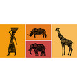 africa banner with elements - patterned giraffes vector image vector image