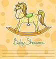Baby Shower card with horse toy vector image vector image