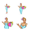 blonde overweight woman avatar shopping vector image