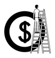 businessman climbing stairs and coin money vector image vector image