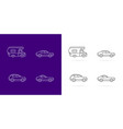 cars icons set white lines style on dark and vector image