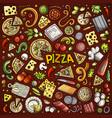cartoon set pizzeria objects and symbols vector image