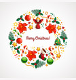 christmas card with circle ornament vector image vector image