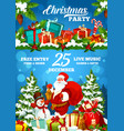 christmas holiday party poster santa and gifts vector image vector image