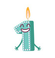 cute birthday candle number character one vector image vector image