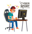 cyber sport player professional gaming vector image vector image