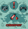 cybersport flat icons set vector image