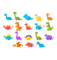 dinosaurs set variety species of brightly colored vector image vector image
