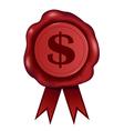 Dollar Wax Seal vector image