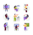 e learning characters online education services vector image