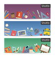 education flat icon stuff three horizontal banner vector image