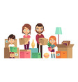family moving new home happy people packing vector image vector image