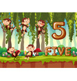 five monkey in the jungle vector image