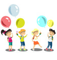 four kids with flowers vector image