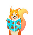 funny kids squirrel reading book about nuts vector image