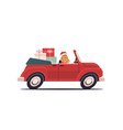 girl in santa claus costume delivering gifts on vector image vector image