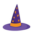 happy halloween purple witch hat with stars vector image vector image