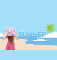 hello summer with girl background vector image