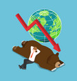 isometric businessman lay down on sleeping bear vector image vector image