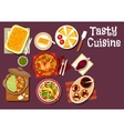 Mediterranean and chinese dinner icon vector image vector image