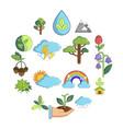 nature icons set symbols cartoon style vector image vector image