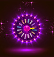 neon colorful fortune wheel purple background vector image vector image