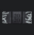new year 2020 cutout pine tree greeting card set vector image vector image