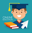 on line education with graduated avatar vector image