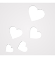 paper hearts on grey vector image vector image