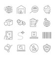 parcel delivery service and logistics icon set vector image vector image