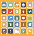 popular food flat icons on orange background vector image vector image