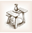 Potters wheel hand drawn sketch style vector image vector image