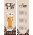 price lists for a glass of beer vector image vector image