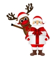 Santa Claus and reindeer cartoon with a gift vector image vector image