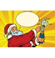 santa claus opens a bottle champagne vector image vector image