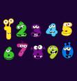 set cartoon style monsters numbers vector image