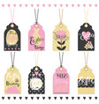 set easter hand drawn lettering tags vector image vector image